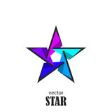 Star flat 3D abstract symbol. Popularity concept Stock Photos