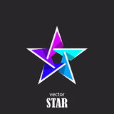 Star flat 3D abstract symbol. Popularity concept. Vector Illustration Royalty Free Stock Photo