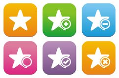 Star flat style icons Royalty Free Stock Images