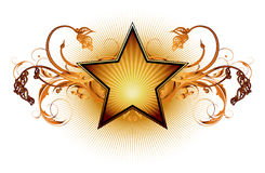 Star with floral elements Stock Photography