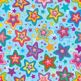 Star flower cute face colorful seamless pattern. This illustration is design star flower cute face colorful with blue background and light color line decoration Royalty Free Stock Images