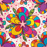 Star flower drawing seamless pattern Royalty Free Stock Photos