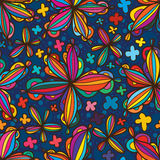 Star flower style line seamless pattern. This illustration is drawing star flower style with line and colorful in seamless pattern Royalty Free Stock Photography