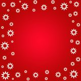 Star flowers border. On red Royalty Free Stock Image