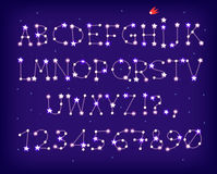 Star font caps. A font made of stars forming constellations Stock Images