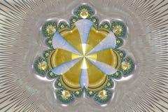 Star Fractals in Gold. Star fractals design centered on a black and white patterned background royalty free illustration