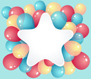 Star frame with balloons Royalty Free Stock Images