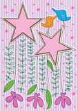 Bird Star Frame Card_eps Stock Image