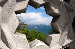 Star Framed View of Bosphorus from Topkapi Stock Photo