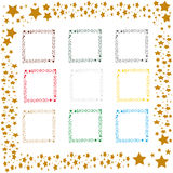 Star frames. Collection of colored star frames- yellow, red, gold, blue, silver vector illustration