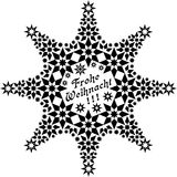 Star Frohe Weihnacht. Black stars and ornaments forming the shape of a bigger star with the German words for Merry Christmas in the center Stock Photo