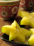 Star fruit #1. Star fruit platter on dining table Royalty Free Stock Photos