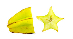 Star fruit carambola with cross section isolated on white Stock Image