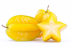 Star fruit carambola or star apple  starfruit  on white background healthy star fruit food isolated Royalty Free Stock Photography