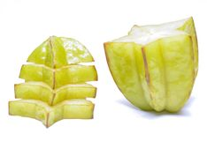 Star fruit or carambola on white background Royalty Free Stock Image