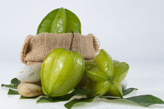 Star fruit with green leaf. Stock Photography
