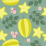 Star fruit seamless pattern. Ripe carambola with leaves and flowers on shabby background. Original simple flat illustration. Shabby style stock illustration