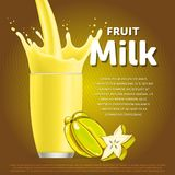 Star fruit sweet milkshake dessert cocktail. Glass fresh drink in cartoon vector illustration Royalty Free Stock Photography