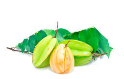 Star fruit on white background Royalty Free Stock Images