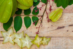 Star fruit on wood background Royalty Free Stock Photography
