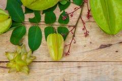 Star fruit on wood background Stock Photo
