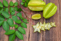 Star fruit on wood background Royalty Free Stock Images