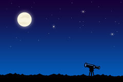 Star gazing. Looking at the moon and stars with a telescope Royalty Free Stock Images
