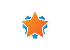 Star and gear logo icon. Symbol of good work Royalty Free Stock Images