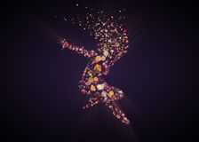Star girl - Cosmic lights - Bokeh Girl - girl in lights. A silhouette of a girl like a star in soft bokeh lights royalty free illustration