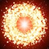 Star glänzendes rundes Feld auf a auf einem roten Hintergrund. Stockfoto