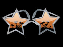 Star Glasses. Vector glasses in the form of a star with palm trees and flamingo Stock Photography