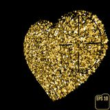 Star glitter gold sequin in heart shape isolated on black backgr. Ound - love and valentine concept, Heart At Gunpoint Stock Photography