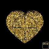 Star glitter gold sequin in heart shape isolated on black backgr. Ound - love and valentine concept, Heart At Gunpoint Stock Image