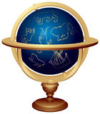 Star globe. Or Celestial globe used in astronomy, Astrology and navigation. The celestial sphere With symbolical images of constellations: Ursa Major, Gemini Stock Photos