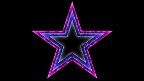 Star 031 - Glow Neon Colorful - Black Background. 4K Resolution Vector Illustration