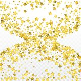 Star gold confetti. Celebrate background. Golden sparkles and dots on black backdrop. Luxury invitation card template. Falling gold confetti. Glitter stock illustration