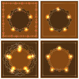 Star gold orange brown frame Stock Photos