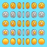 Star gold silver coins rotation set Royalty Free Stock Image