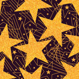 Star golden glitter big seamless pattern. This illustration is design big star with golden glitter and star line stylish in seamless pattern Stock Photography