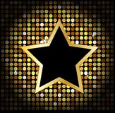 Star on the golden glittering disco background Royalty Free Stock Photo