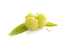 Star gooseberry and leaves isolate on white background. Fruit (Star gooseberry) and leaves isolate on white background Royalty Free Stock Photography