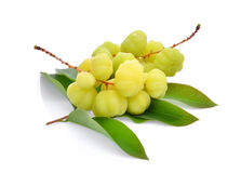 Star gooseberry with leaves isolated on white Royalty Free Stock Images