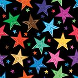 Star gradient random seamless pattern. This illustration is abstract shine star no matter how always shining in seamless pattern with black color background stock illustration