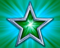 Star on green background. Illustration of a green and silver star on a bluey green background Royalty Free Stock Images