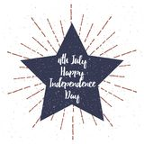 Star with Grunge texture vector illustration and 4th July Independence Day lettering. Vector. Illustration Royalty Free Stock Photos