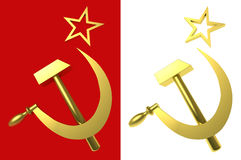 Star, hammer and sickle, symbols of USSR. Isolated on red and white, clipping paths included, 3d illustration Stock Image