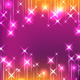 Star hang bright feminine. Illustration abstract pink orange colors stars hang top bottom center sample background shine bright graphic feminine backdrop card Stock Photo