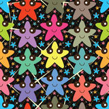 Star happy colorful seamless pattern Stock Photos
