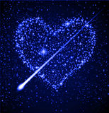 Star heart in night sky. Vector heart shaped stars in night sky Royalty Free Stock Image