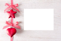Star heart red card white Royalty Free Stock Photography